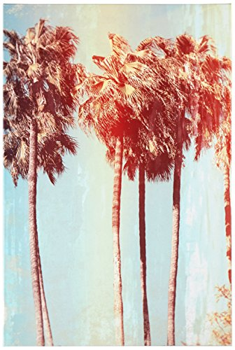 Rivet Vintage-Look Palm Trees Turquoise and Sepia Canvas Print Wall Art , 16 x 24