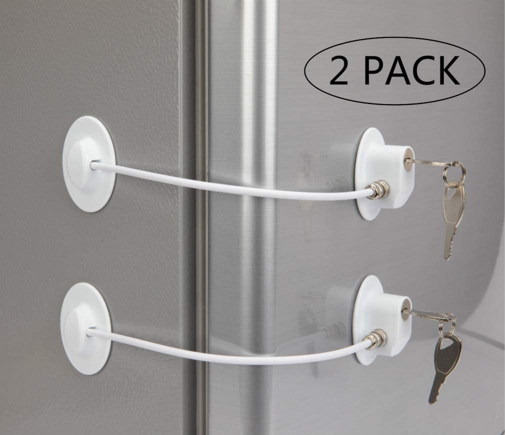 2 Pack Refrigerator Door Locks with 4 Keys White