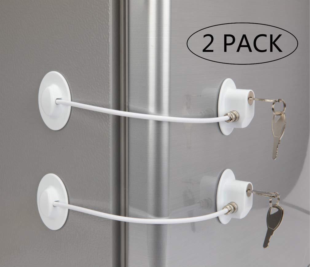2 Pack Refrigerator Door Locks with 4 Keys White