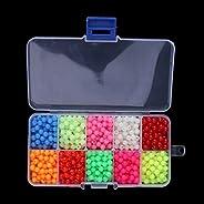MonkeyJack 1000Pcs Multi-color Round Beads Fishing Beads Lure Night Glow Fishing Beads Fishing Tackle Tools Eg