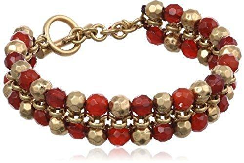 Lucky Brand Bombay Fillagree Carnelian Double Row Bead Bracelet