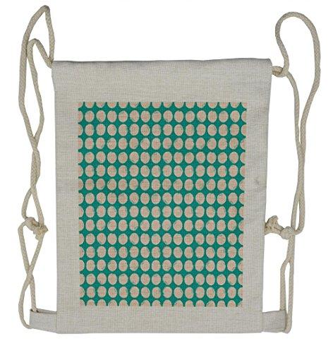 - Lunarable Grunge Drawstring Backpack, Green Tone Geometric Circle, Sackpack Bag