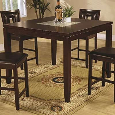 dining table with insert concrete insert amazoncom counter height dining table with cracked glass insert in deep espresso finish tables