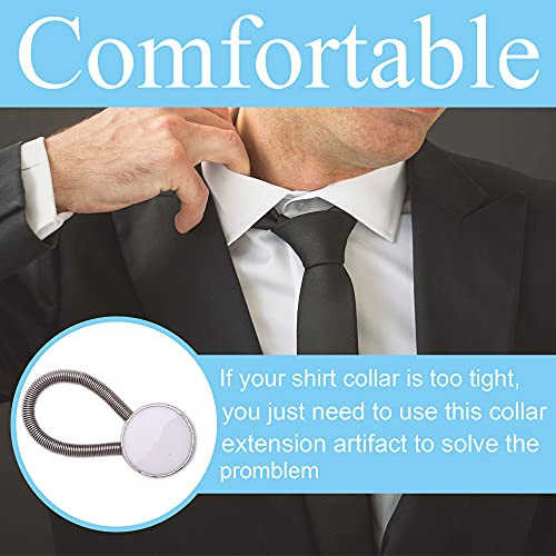 8 Pieces White & Black Collar Extenders Elastic Metal Button Extender Neck for Shirt Dress Coat
