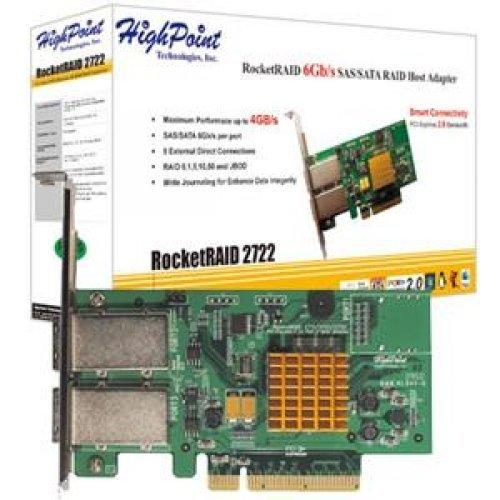 Highpoint RR2722 8PORT EX 6GB/S SAS RAID PCIE 2X SFF-8088 PCIE 2.0 X8 RAID HBA