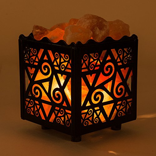 Crystal Decor Natural Himalayan Salt Lamp in Star Design Metal Basket with Dimmable Cord by CRYSTAL DECOR (Image #3)
