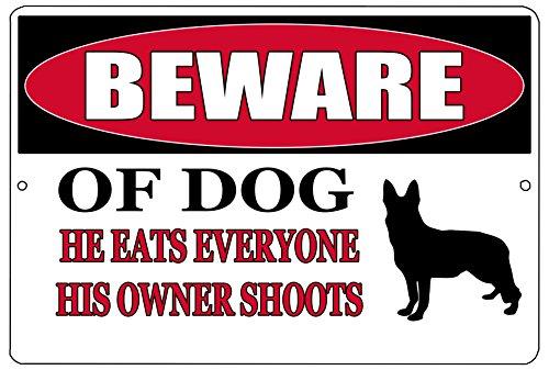 Hunting Funny Dog - Rogue River Tactical Funny Beware of Dog Metal Tin Sign Wall Decor Man Cave Bar Pro Gun Warning