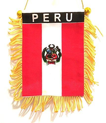 (Designs Preu Small PERU car window flag, Mini Peru flag automobile cars suv trucks vans,Pequeña bandera de peru, perfecta para cualquier coche)