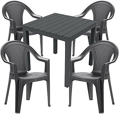 Mojawo Mobiliario de jardín 5 piezas – Mesa de jardín PLÁSTICO 79 x 79 h72 cm – + 4 sillas apilables – Plástico gris – Bistro Set – Comedor – Silla apilable: Amazon.es: Jardín