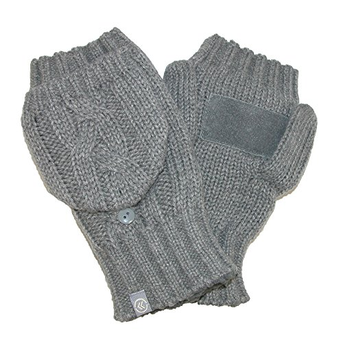 Isotoner Women's Chunky Cable Knit Convertible Gloves, Oxford Heather