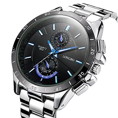 GuTe Men Quartz Watch,Casual Black Dial Stainless Steel Bracelet&Case Analogue Quartz (Mens Analogue Quartz Watch)