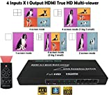 Honor Digital Techs HDMI 4x1 Quad Multiviewer, Screen Splitter, 4 in 1 out with Seamless Switch and IR Remote Control Ultra HD 1080P 3D HDMI 1.3a for Gaming/Restaurant/Bars/Exhibition/Surveillance etc