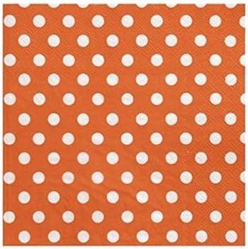1001decotable 20 Serviettes en Papier Orange /à Pois en Papier