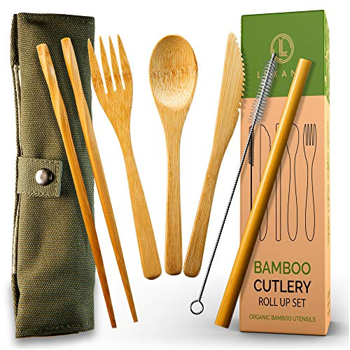Bamboo Cutlery and Reusable Utensils with Case and Bonus Bamboo Toothbrush. Travel Cutlery Set and Reusable Silverware…