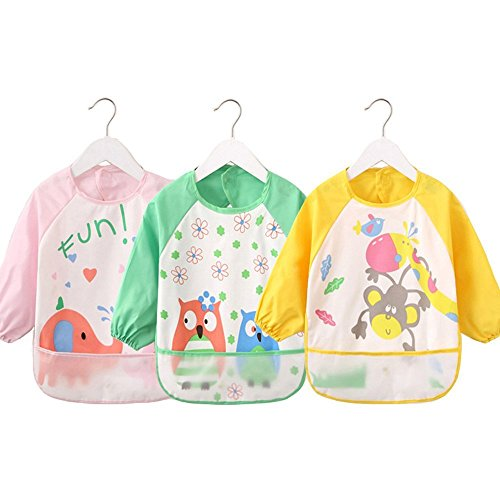 4G-Kitty Waterproof Bib with Sleeves&Pocket, Unisex Kids Childs Arts Craft Painting Apron 6-36 Months 3pcs - B Sunglasses Base