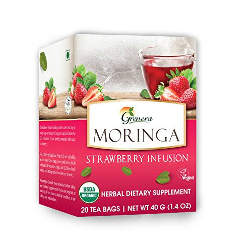 Grenera Moringa Strawberry Infusion - 20 Tea Bags / Box - USDA Organic Certified, Made with Organic Ingredients