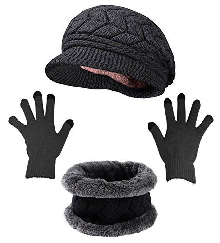 Winter Hat Gloves Scarf Set with Visor Snow Knit Skull Cap Infinity Scarves Touch Screen Mittens for Women Black