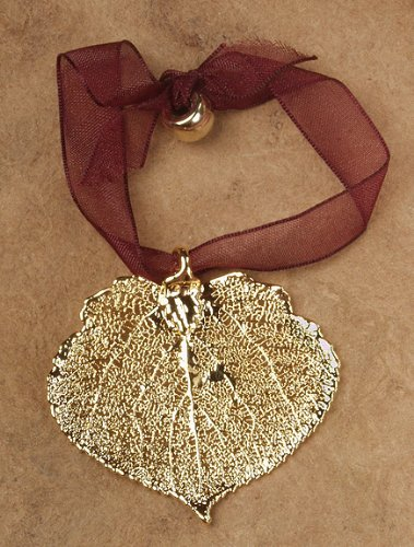 Aspen Leaf Beads (2 Pieces! Aspen Leaf Ornament, Gold Plated - Made with Real Leaf!)