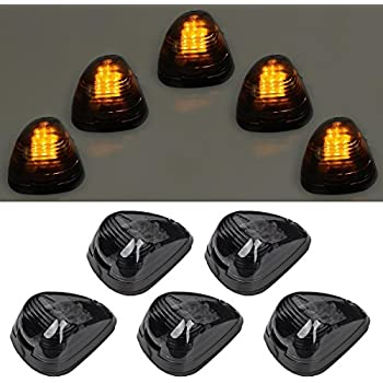 5pcs Black Smoked Lens Amber LED Cab Roof Top Marker Lamp Clearance Running  Light For 1999