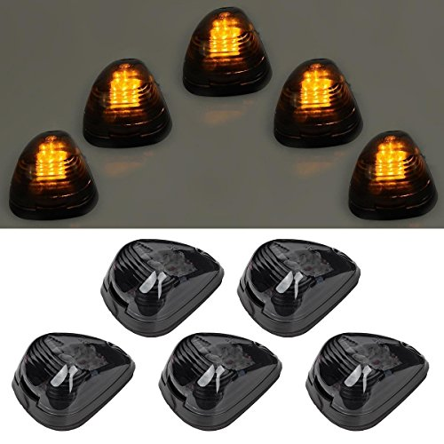 5pcs Black Smoked Lens Amber LED Cab Roof Top Marker Lamp Clearance Running Light For 1999-2016 Ford E/F (Smoked Lens & Amber ()
