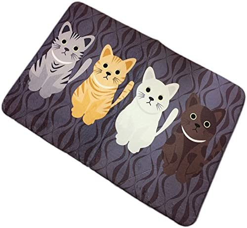 Adasmile Novelty Cat Cartoon Mat Non Slip Lovely Cats Pattern Modern Indoor Fashion Memory Foam Area Rug
