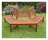 Henley 1/2 Tree Seat Hardwood Bench Quality Wooden Garden Furniture 180 Degree
