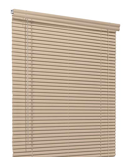 CHICOLOGY Custom Made Corded 1-Inch Aluminum Mini Blind, Blackout Horizontal Slats, Inside Mount, Room Darkening Perfect for Kitchen/Bedroom/Living Room/Office and More: 31″ W X 42″ H, Beige Satin