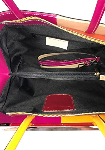 Superflybags Borsa A Spalla O A Mano In Vera Pelle modello Capri Lux Made In Italy fucsia-turchese