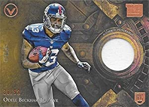 Autograph Warehouse 343237 Odell Beckham Jr. Player Worn Jersey Patch Football Card - New York Giants 2014 Topps Valor Speed No. VPOB LE 30 & 99