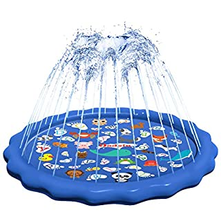 Jsdoin Sprinkler for Kids, Splash Pad, Wading Pool and Learning Mat - 68'' Inflatable Outdoor Water Toy - 'Fun Early Education Puzzle' Swimming Pool with Sprinklers for Babies and Toddlers