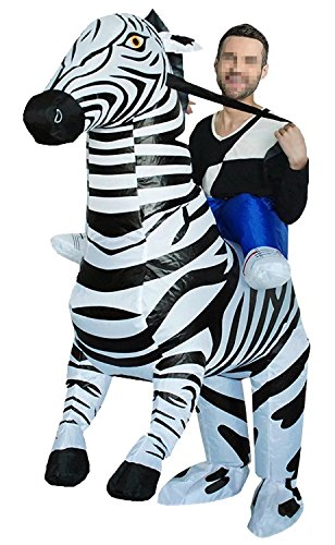 Fantastic Four Costumes For Adults (Ameyda Inflatable Zebra Adult Halloween Animal Costumes Cosplay Jumpsuit)