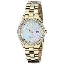 Seiko Women's SUT076 Gold-Tone Stainless Steel and Swarovski Crystal Solar Watch