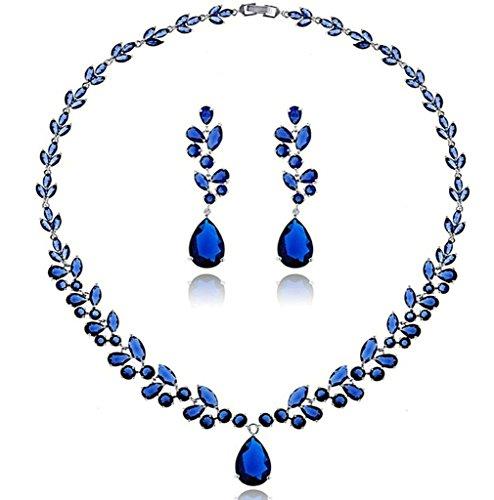 Aooaz Bijoux Femmes Alliage Bijoux Parures Goutte Feuilles Délicat Collier Boucles d'oreilles Ensemble De Parures Mariage Bleu
