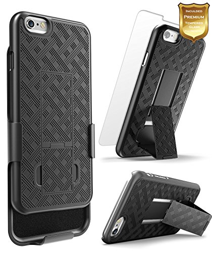 iPhone 6 / 6S Plus Belt Clip Holster Case w/[Tempered Glass Screen Protector]