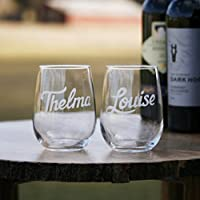 Thelma & Louise Engraved Stemless Wine Glass Set