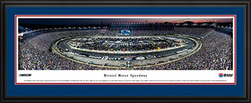 Bristol Motor Speedway Night Race - Blakeway Panoramas NASCAR Poster with Deluxe Frame and Double Mat ()
