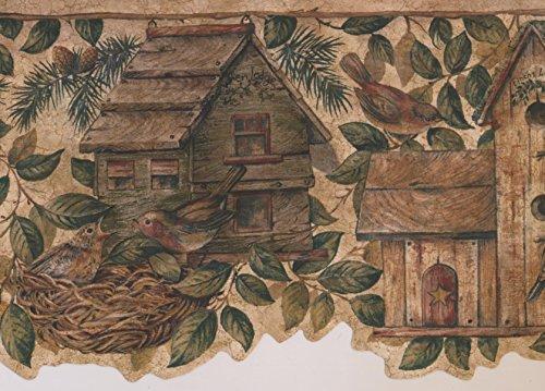 Bird Sparrow Sage Green Striped Red Birdhouse Hotels Wallpaper Border Retro Design, Roll 15' x 8.5