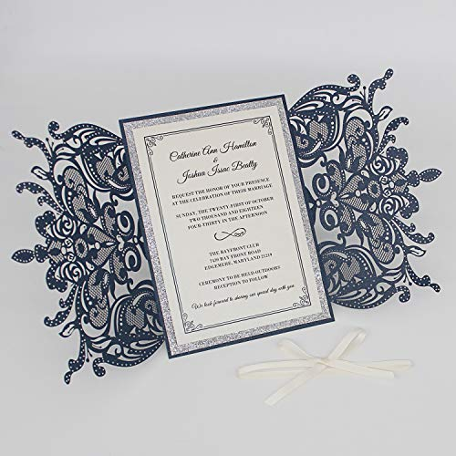Picky Bride 25Pcs Luxurious Navy Blue Laser Cut Wedding Invitations with Ribbon Bow, Silver Glitter Wedding Suite, Elegant Invite Set, Multi-Colors Available 125x185mm (Blue)