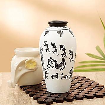 Buy Craftbell Terracotta Vase Pots White Warli Handpainted Tapered