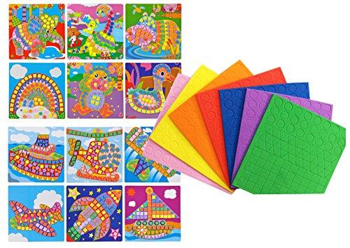 Mosaics animal and transportation cute 12 pattern design craft sticker
