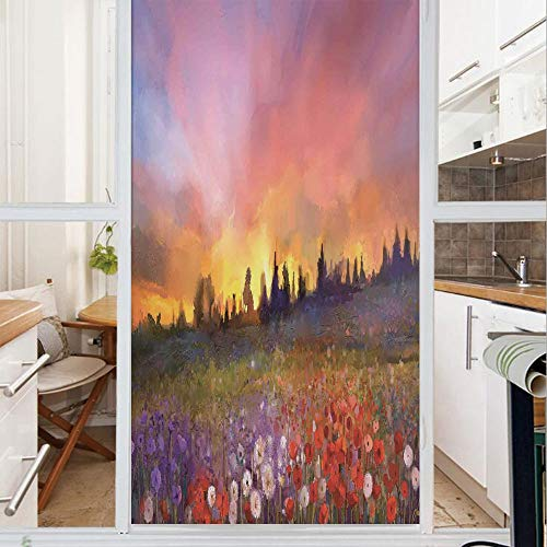 Patterns Glass Reverse Painting (Decorative Window Film,No Glue Frosted Privacy Film,Stained Glass Door Film,Oil Painting Style View Composition of Poppies and Buds at the Sunrise Art Print,for Home & Office,23.6In. by 35.4In Multico)
