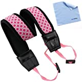 GTMax Pink Anti-Slip Soft Neoprene Camera Should/Neck Strap Belt for Canon, sony, nikon, fuji SLR Cameras with Cleaning Cloth