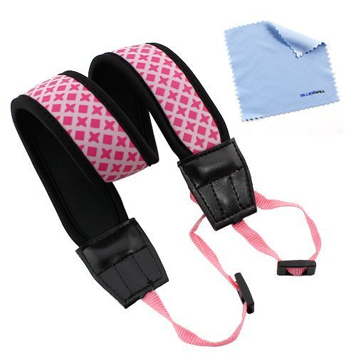 GTMax Pink Anti-Slip Soft Neoprene Camera Should/Neck Strap Belt for Canon, sony, nikon, fuji SLR Cameras with Cleaning - Canon Wide Strap