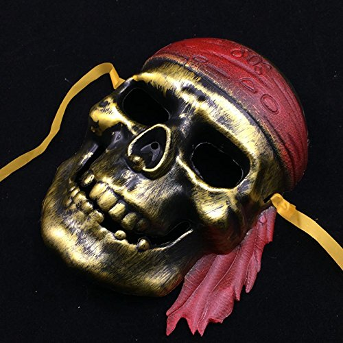[Fashion Cosplay for Halloween Masquerade Carnival Party Prom Carnival Mask (Gold Skull Pirate)] (Pirate Kitty Costume)