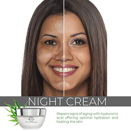 51kRJRJitYL - O Naturals Organic Hydrating Repairing Hemp Oil Night Cream. Anti-Aging Face & Neck Moisturizer. Prevents Dry Cracked Skin, Wrinkles, Soothes Inflammation Boosts Collagen Omega 3 Hyaluronic Acid 1.7oz