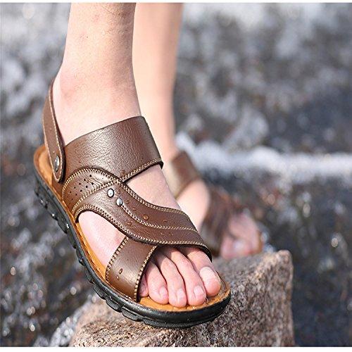 Pelle 2018 Auspiciousi Beach Casual Men's in Summer Maschili Black Shoes Sandali 8a87gZx