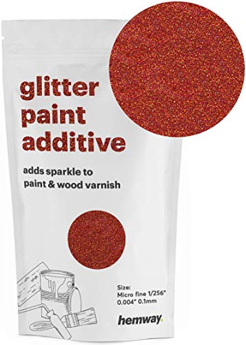 (Hemway MICROFINE Glitter Paint Additive Emulsion Water Based Paints 100g (RED Holographic))