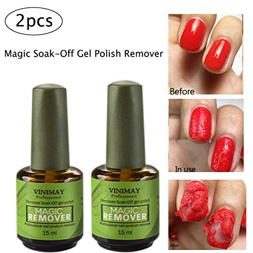 (2Pcs Magic Nail Polish Remover, Removes Soak Off Base Matte Top Coat Gel Nail Polish Healthy Fast Within 2-3 MINS Nail Art Primer Lacquer Nails Salon, 15ml Each)
