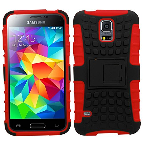 Samrick Shock Proof - Carcasa duradera anti-slip protectora para Samsung Galaxy S5, color blanco Rojo