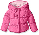 Steve Madden Baby-Girls Infant Flocking Printed Pongee Puffer Jacket, Pink Moon, 12 Months